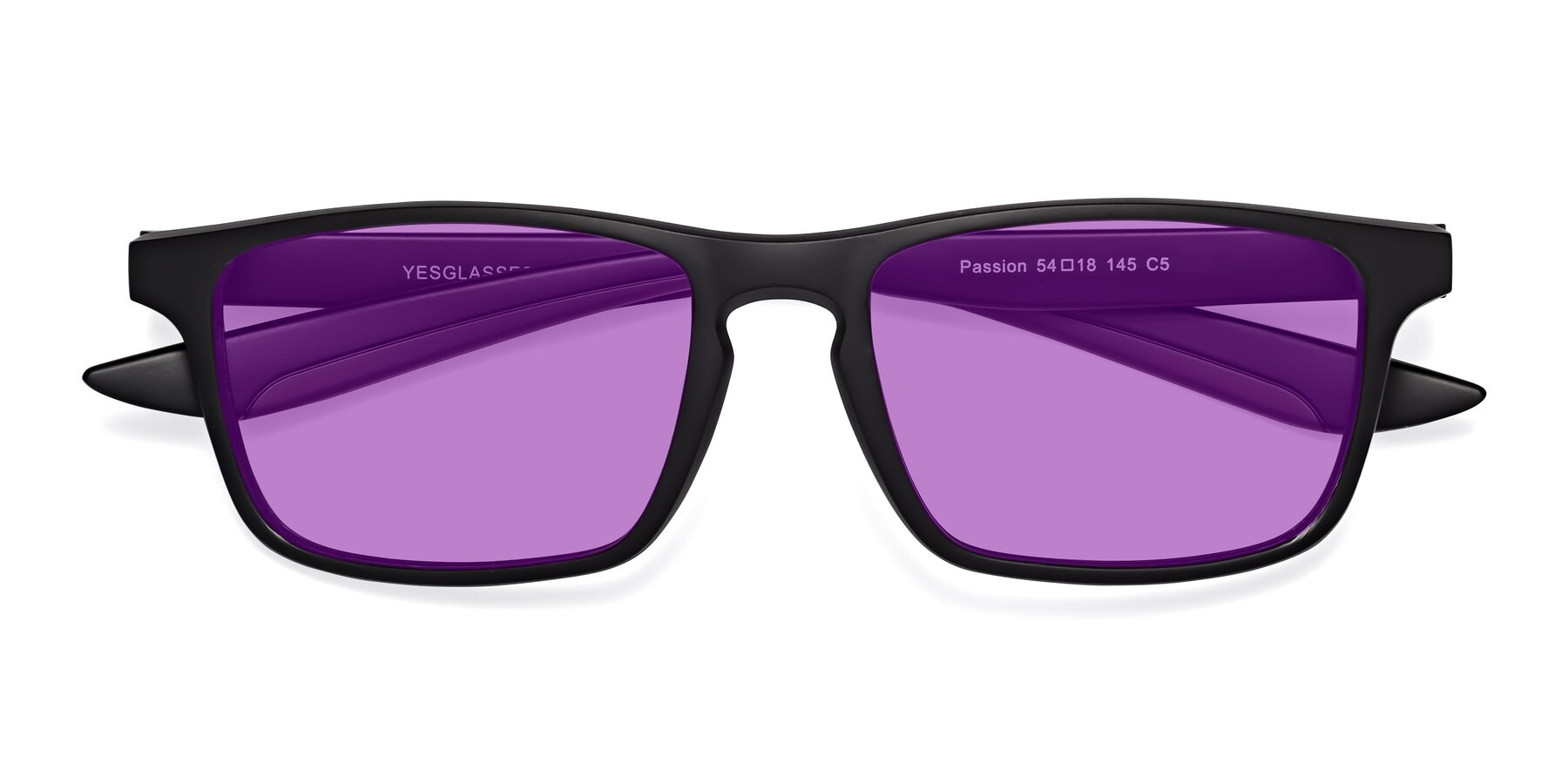 Folded Front of Passion in Matte Black-Coffee with Medium Purple Tinted Lenses