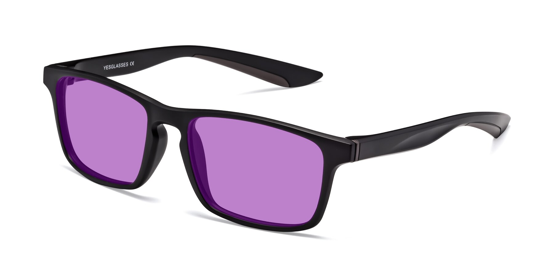 Angle of Passion in Matte Black-Coffee with Medium Purple Tinted Lenses