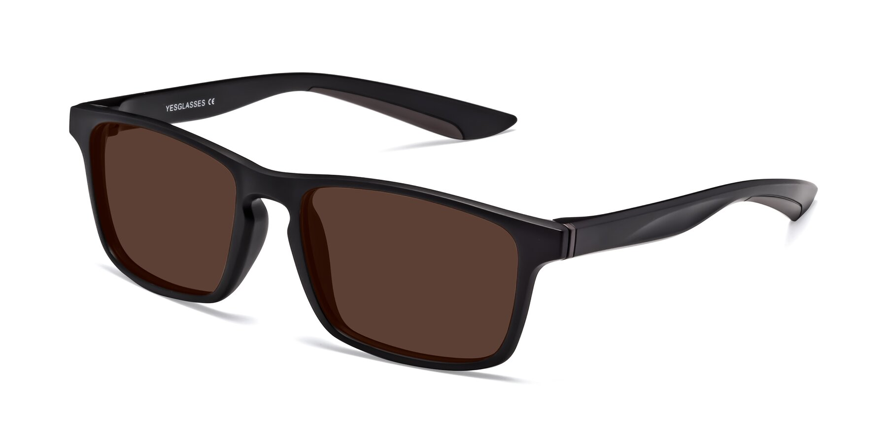 Angle of Passion in Matte Black-Coffee with Brown Tinted Lenses