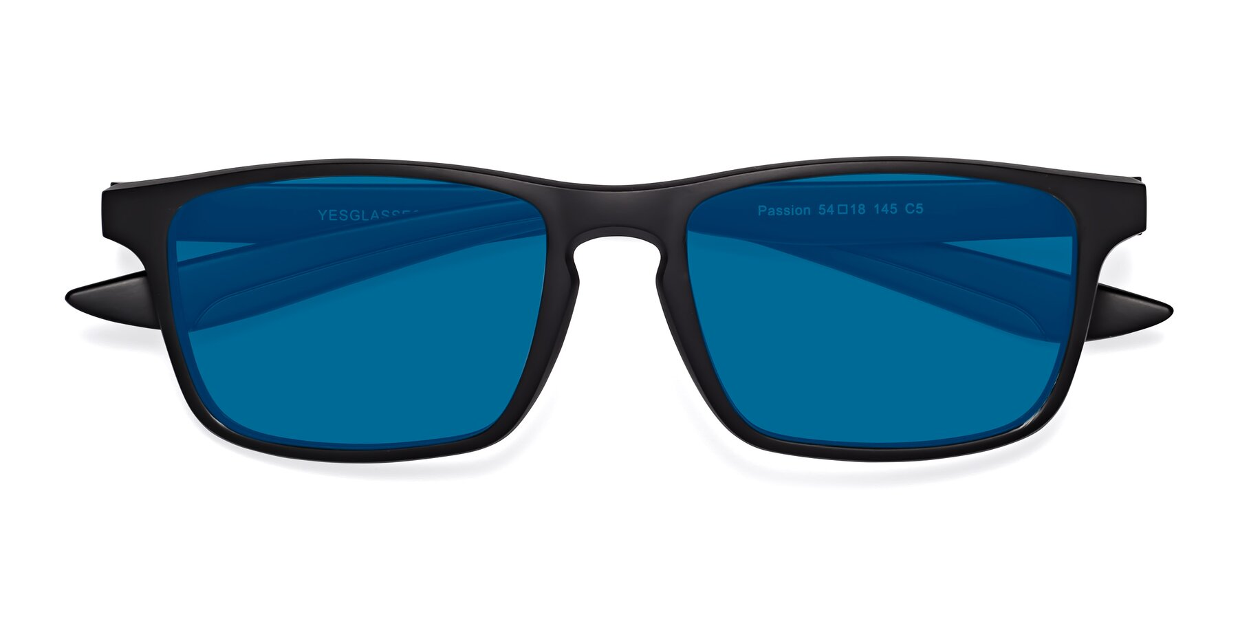 Folded Front of Passion in Matte Black-Coffee with Blue Tinted Lenses