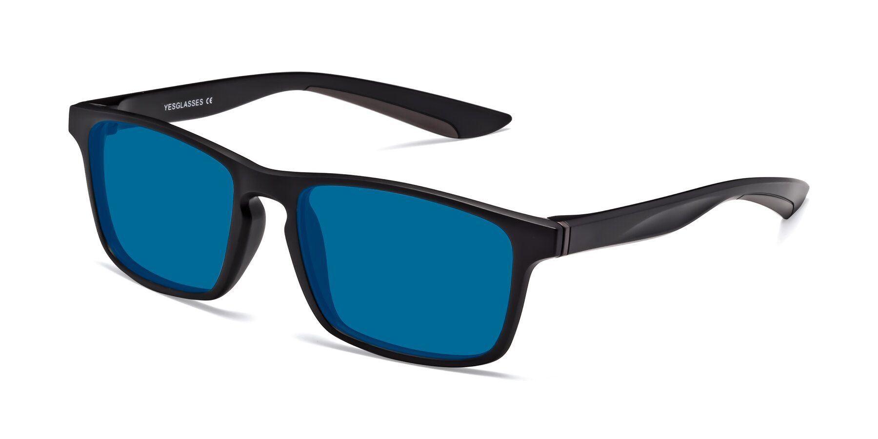 Angle of Passion in Matte Black-Coffee with Blue Tinted Lenses