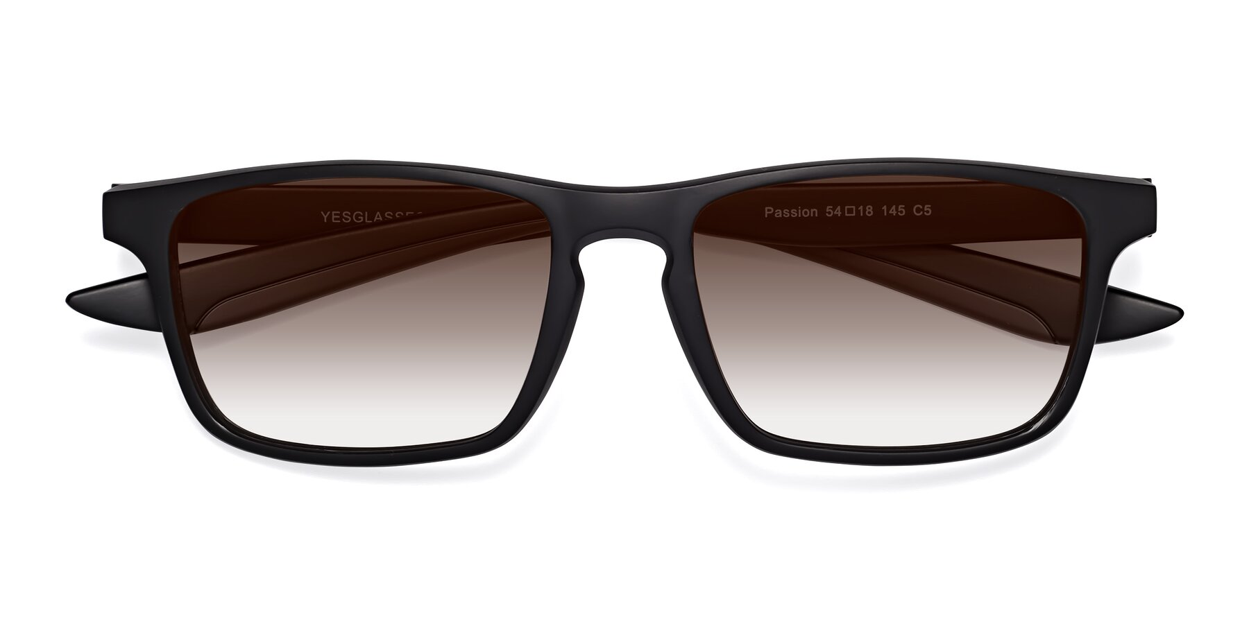 Folded Front of Passion in Matte Black-Coffee with Brown Gradient Lenses