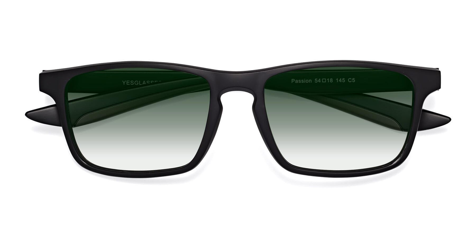 Folded Front of Passion in Matte Black-Coffee with Green Gradient Lenses