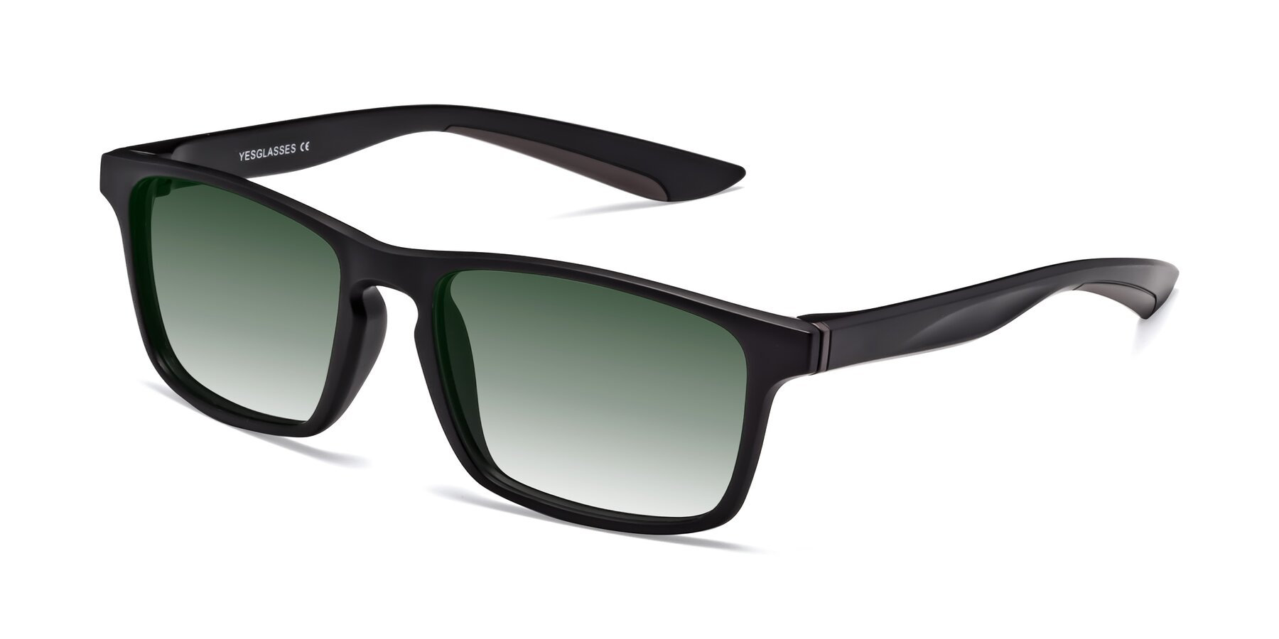 Angle of Passion in Matte Black-Coffee with Green Gradient Lenses