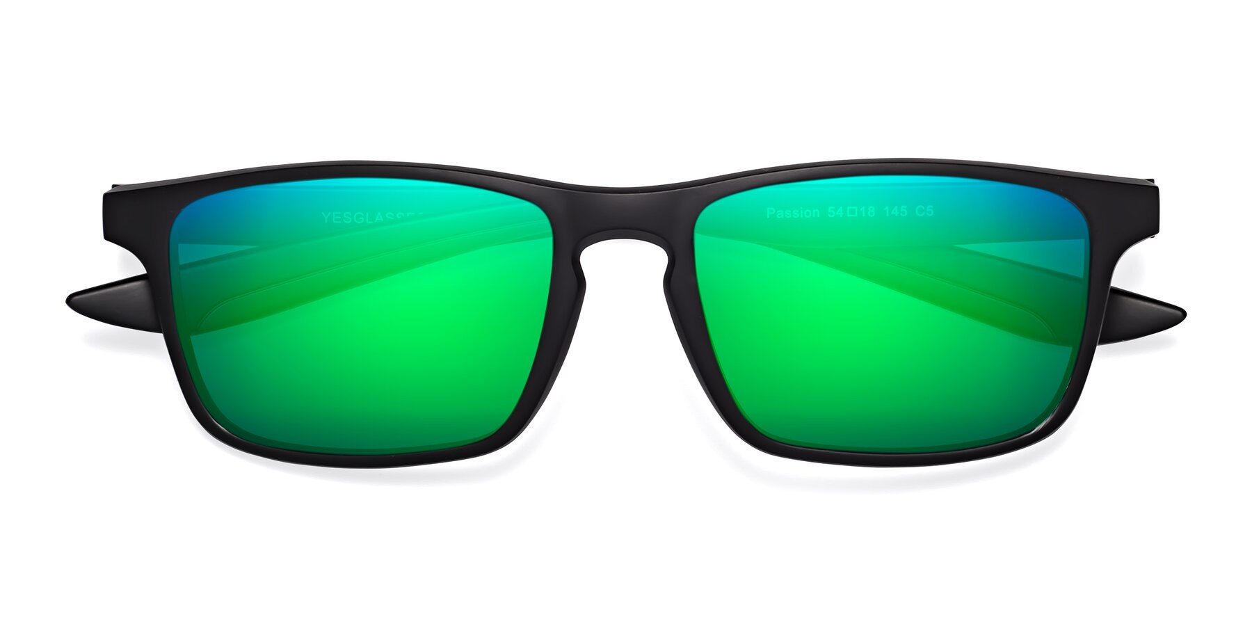Folded Front of Passion in Matte Black-Coffee with Green Mirrored Lenses