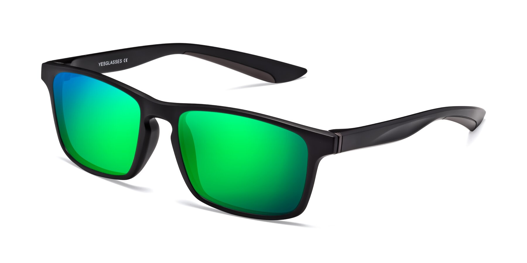 Angle of Passion in Matte Black-Coffee with Green Mirrored Lenses