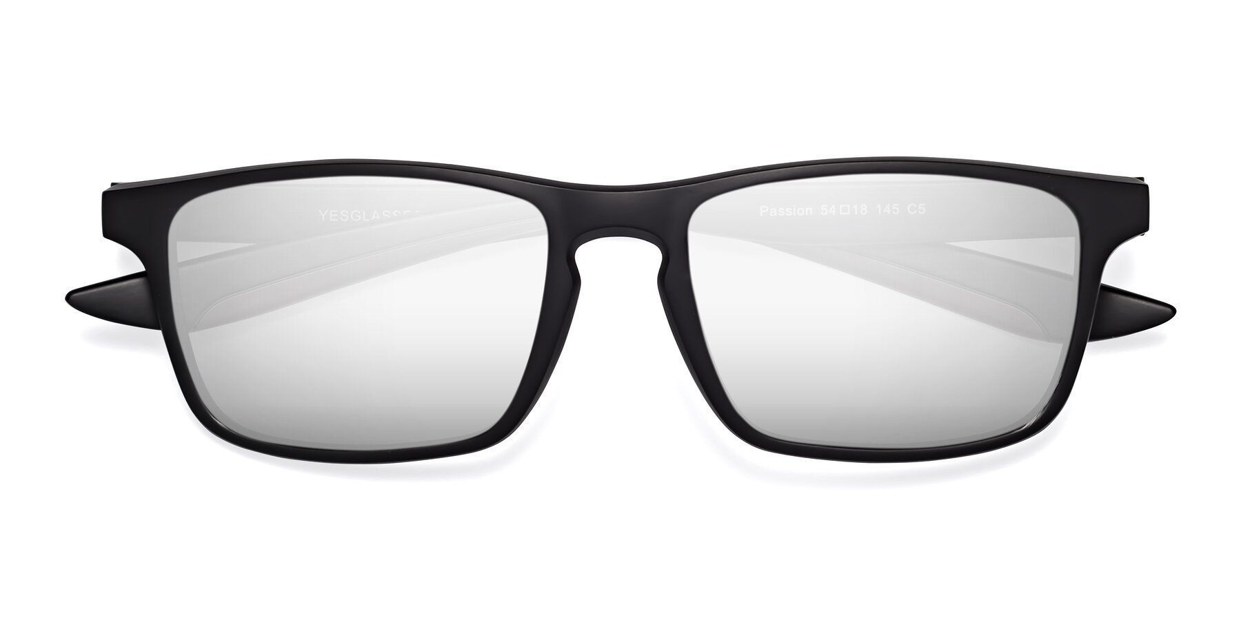 Folded Front of Passion in Matte Black-Coffee with Silver Mirrored Lenses