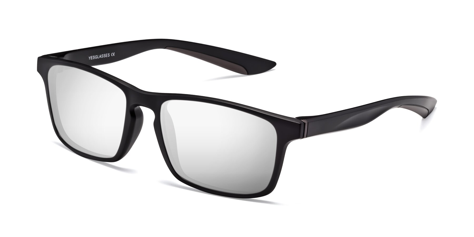 Angle of Passion in Matte Black-Coffee with Silver Mirrored Lenses