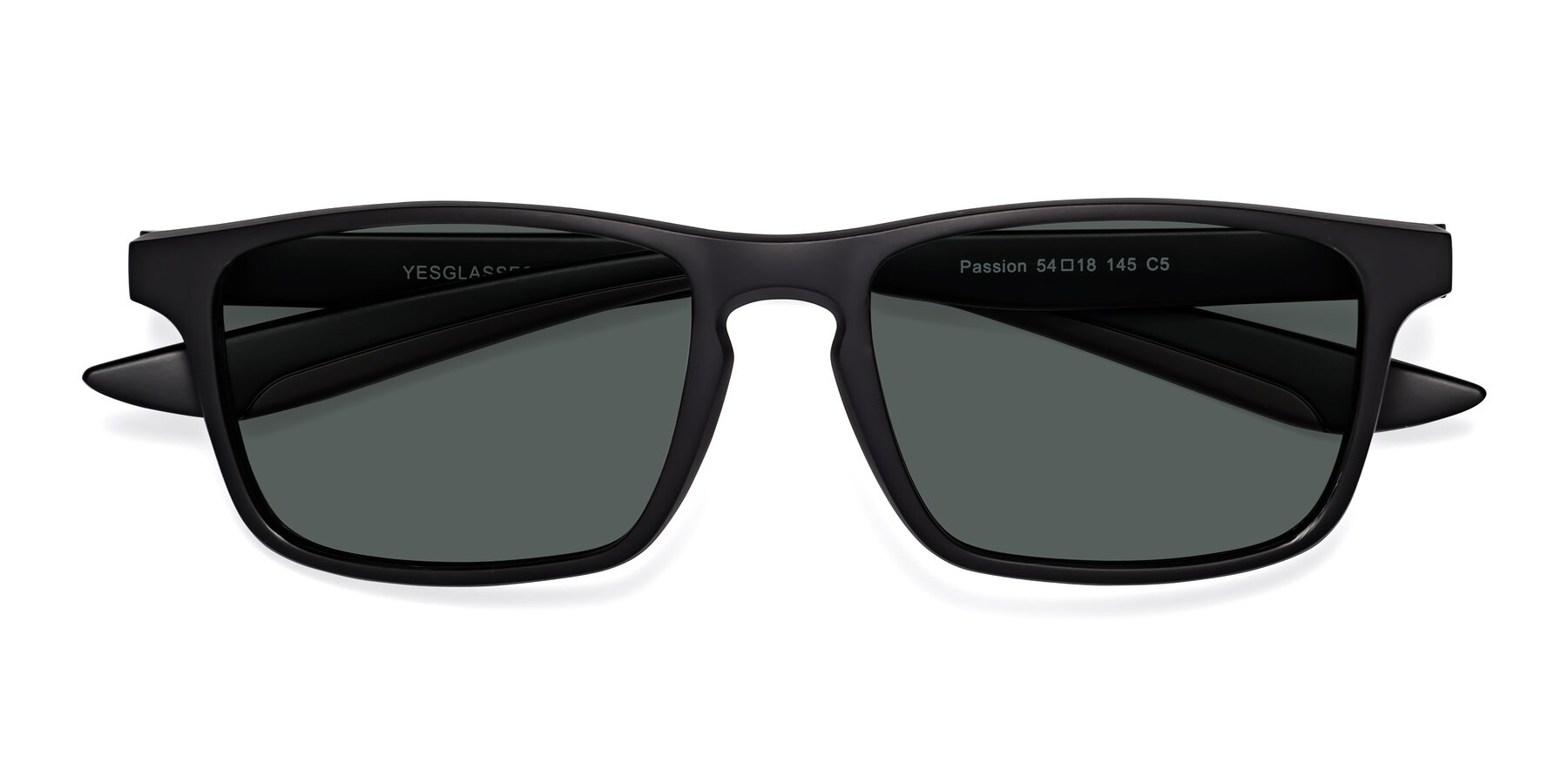 Folded Front of Passion in Matte Black-Coffee with Gray Polarized Lenses
