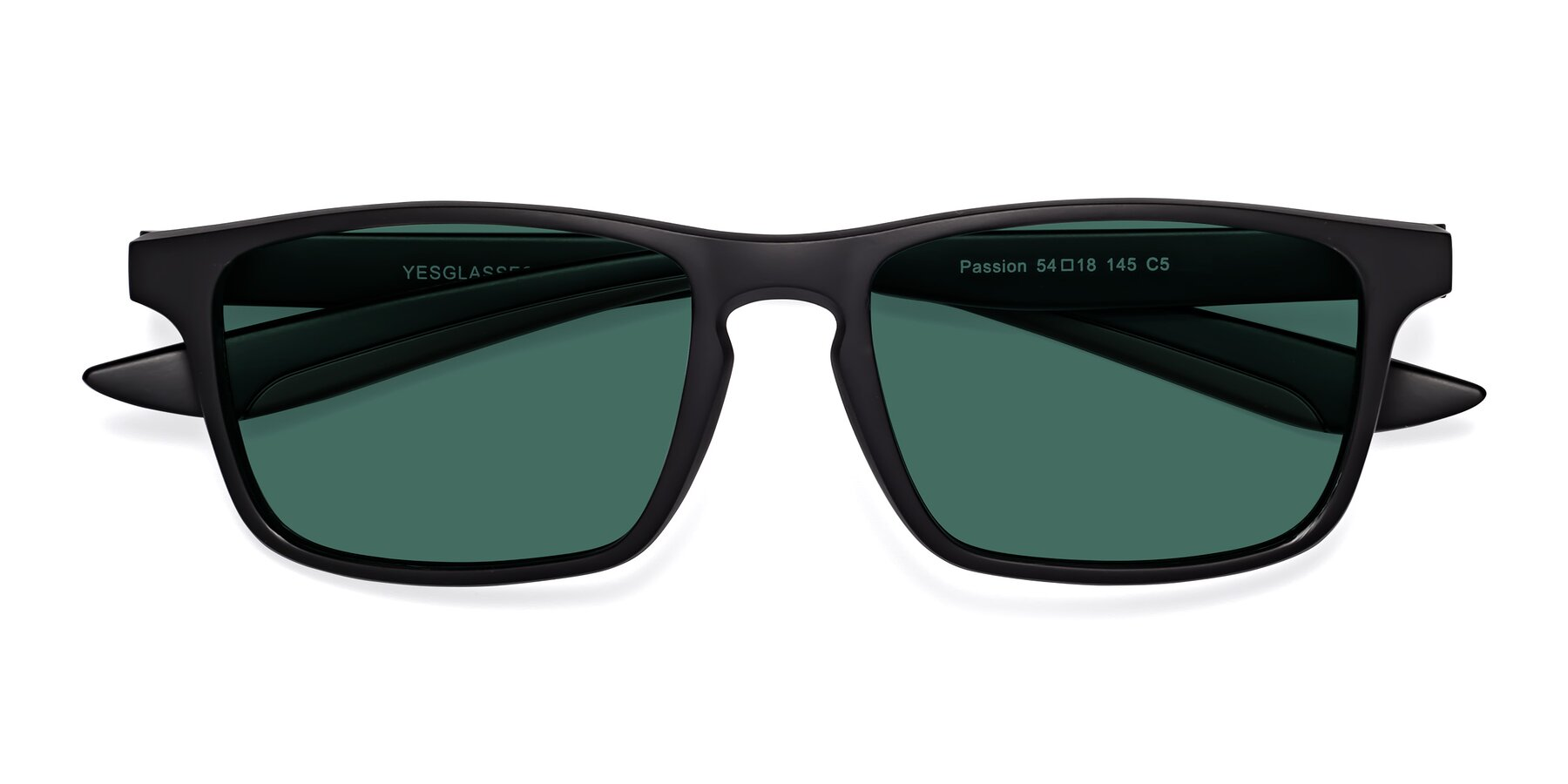 Folded Front of Passion in Matte Black-Coffee with Green Polarized Lenses