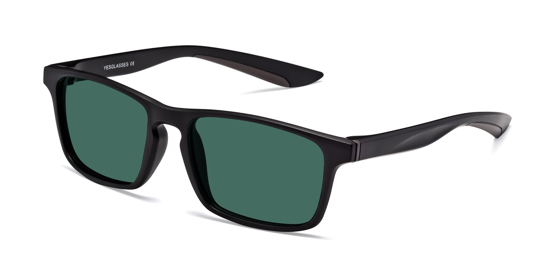 Angle of Passion in Matte Black-Coffee with Green Polarized Lenses