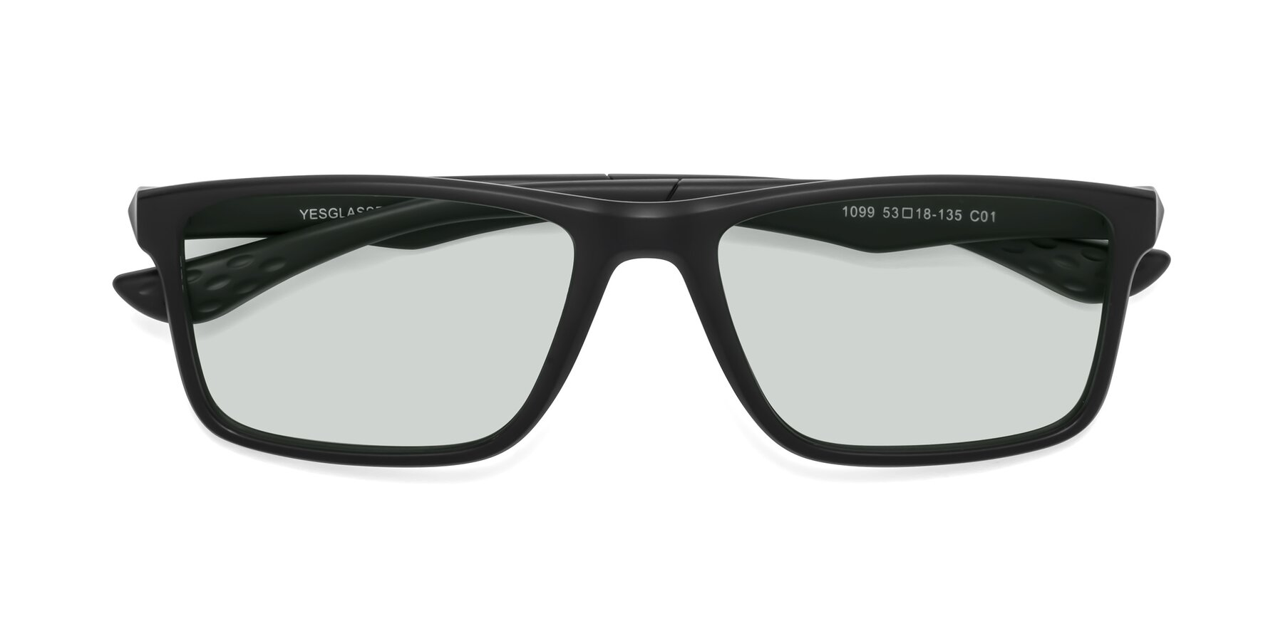 Folded Front of Engineer in Matte Black with Light Green Tinted Lenses