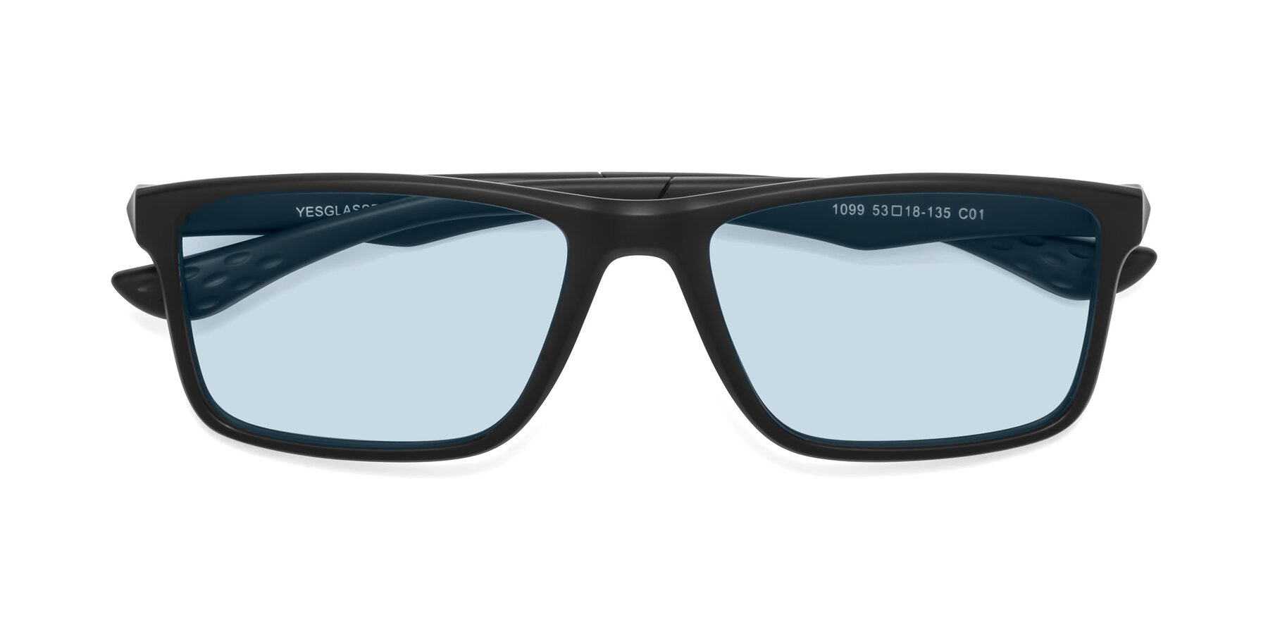 Folded Front of Engineer in Matte Black with Light Blue Tinted Lenses