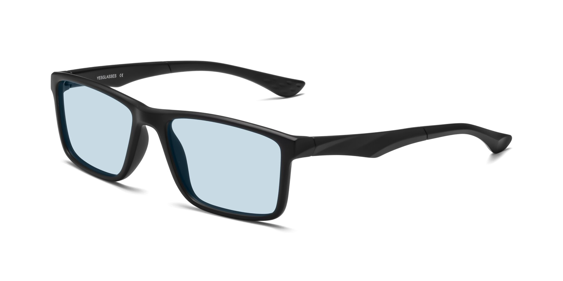 Angle of Engineer in Matte Black with Light Blue Tinted Lenses