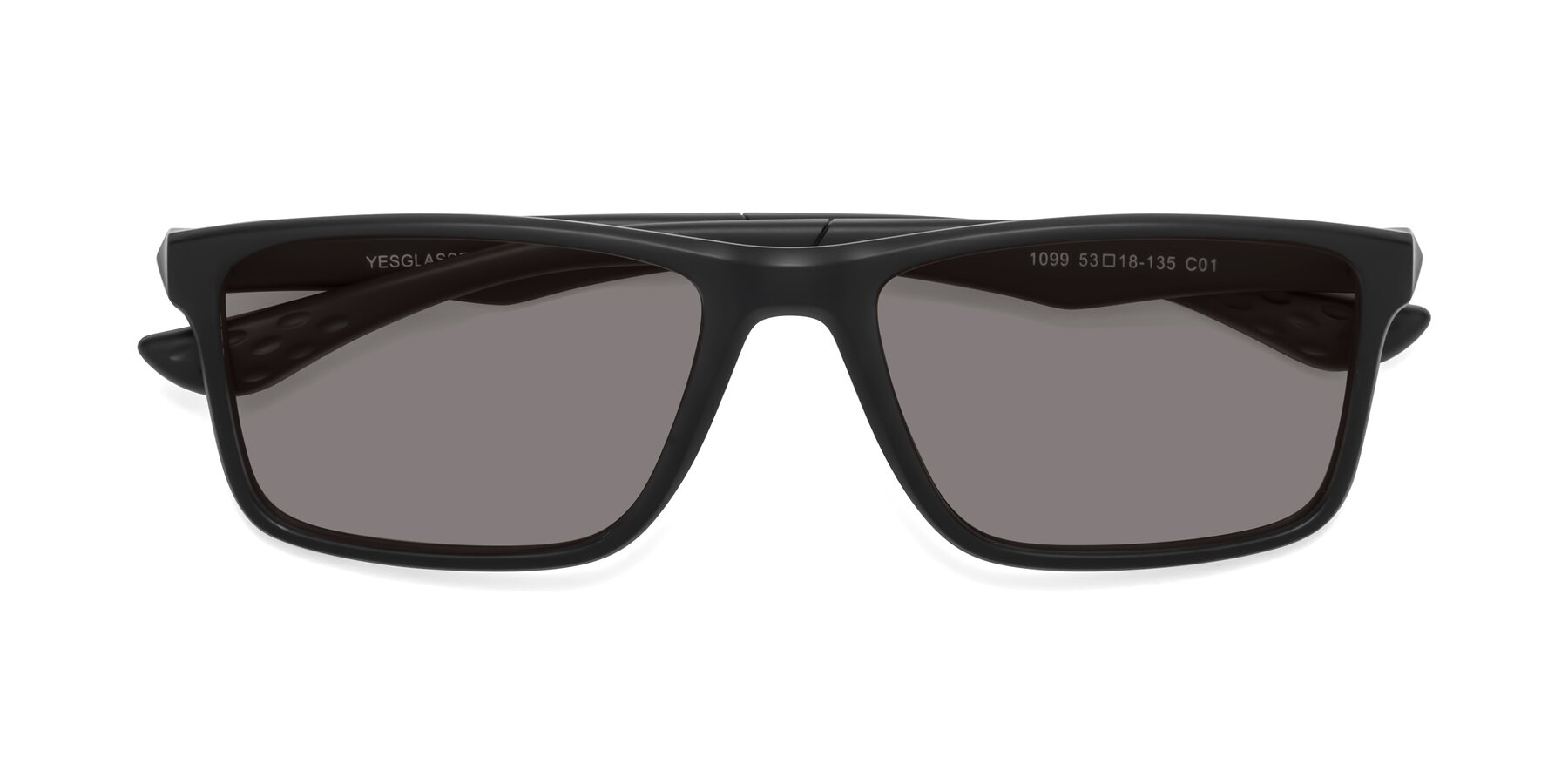 Folded Front of Engineer in Matte Black with Medium Gray Tinted Lenses