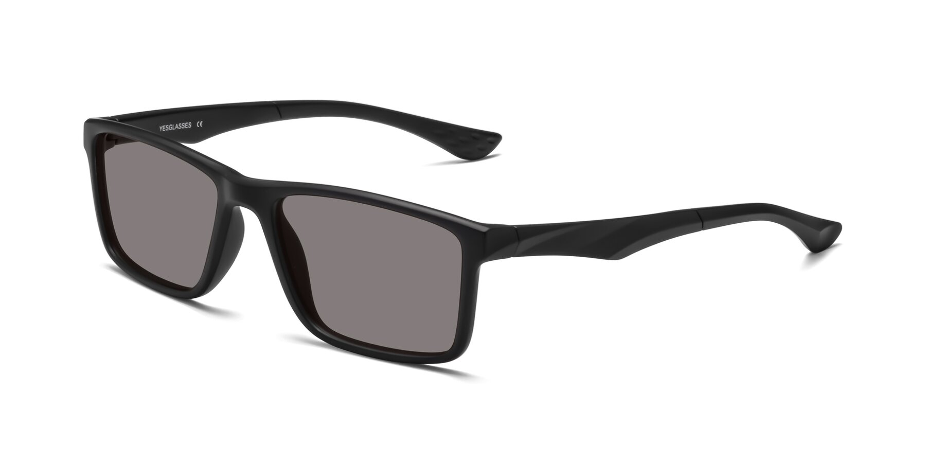 Angle of Engineer in Matte Black with Medium Gray Tinted Lenses