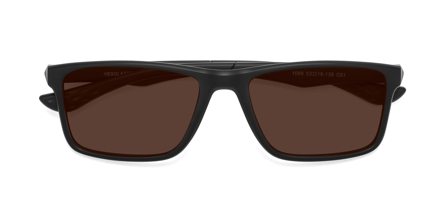 Folded Front of Engineer in Matte Black with Brown Tinted Lenses