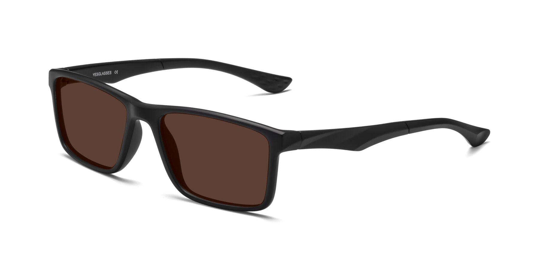 Angle of Engineer in Matte Black with Brown Tinted Lenses