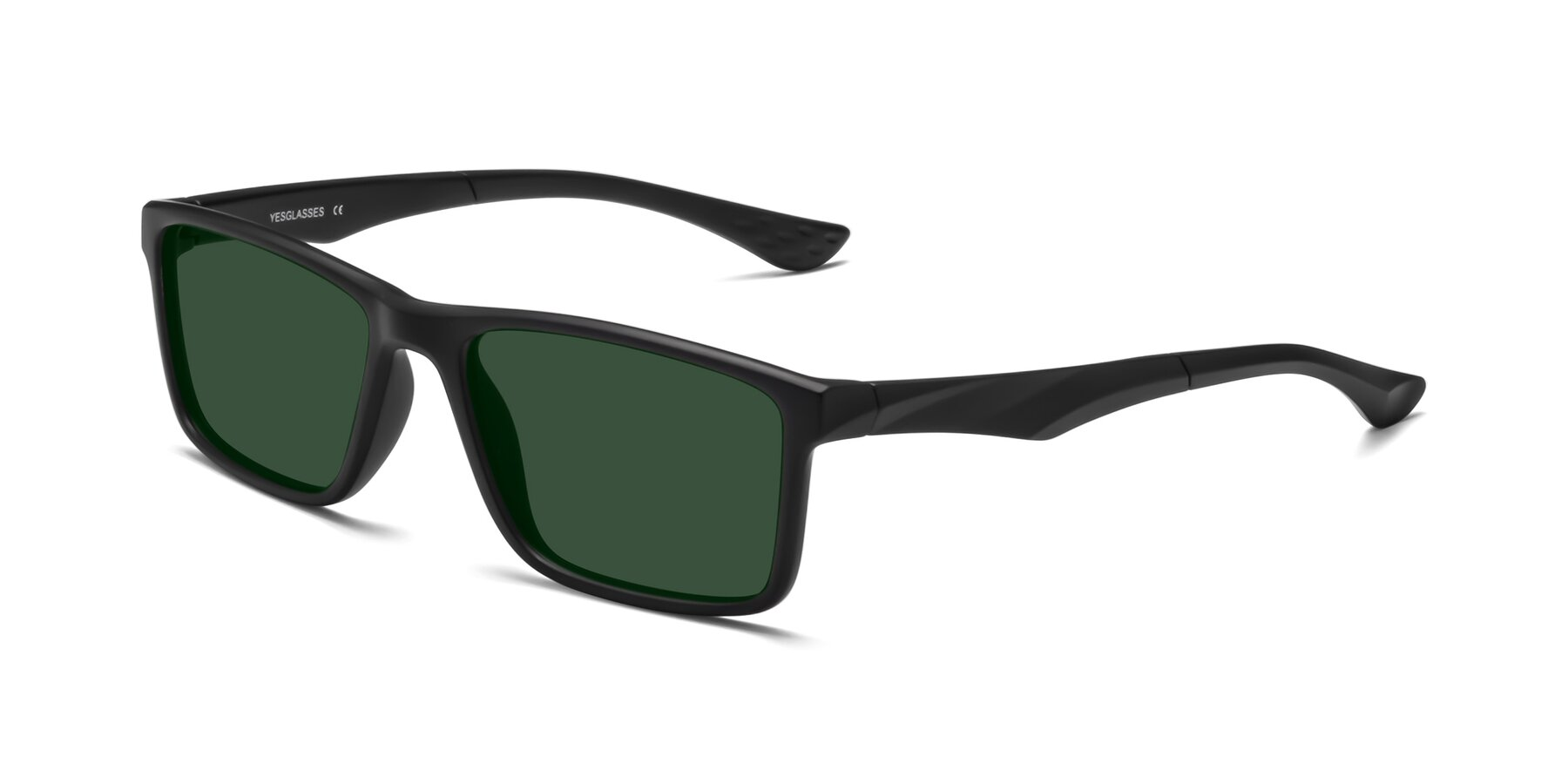 Angle of Engineer in Matte Black with Green Tinted Lenses