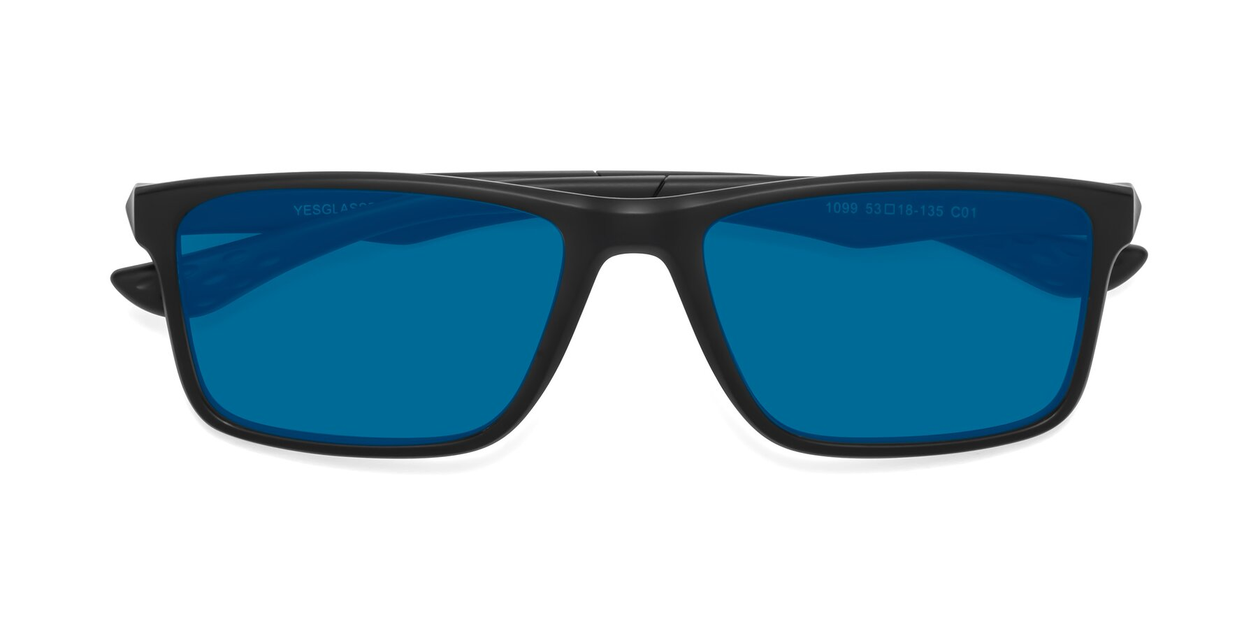 Folded Front of Engineer in Matte Black with Blue Tinted Lenses