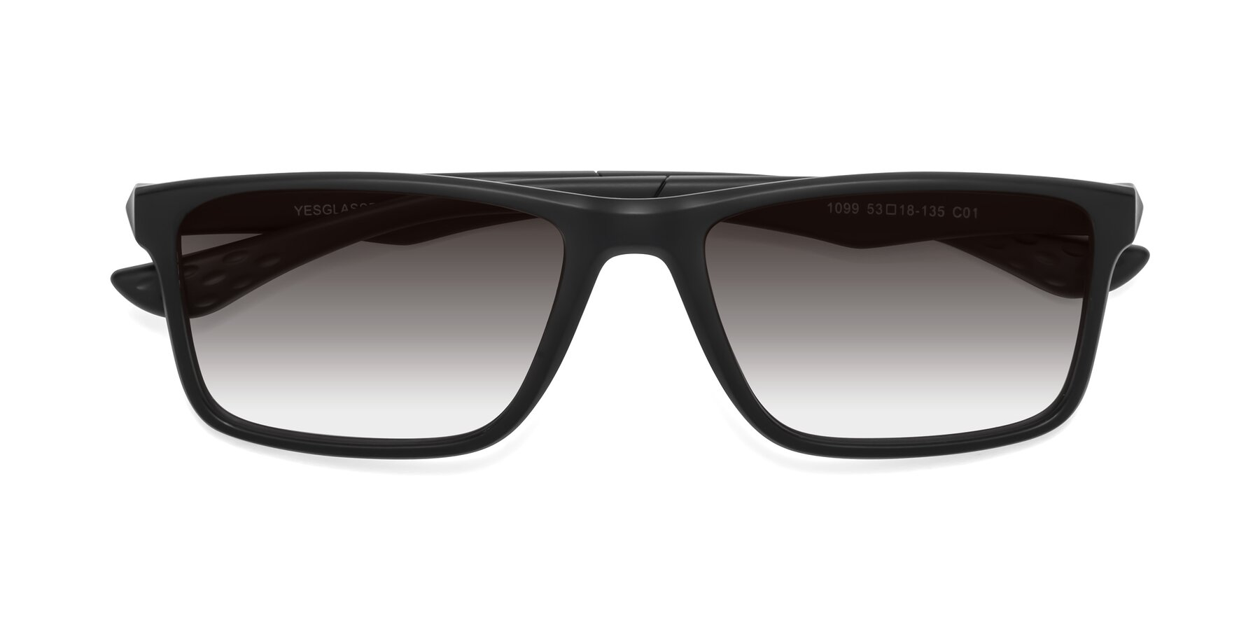 Folded Front of Engineer in Matte Black with Gray Gradient Lenses