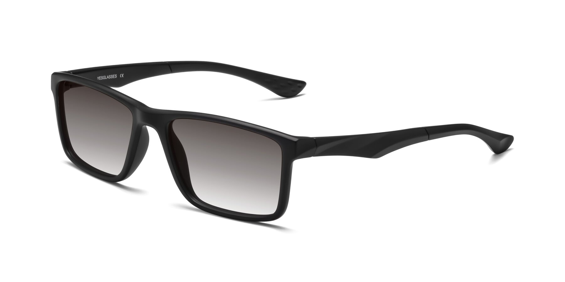 Angle of Engineer in Matte Black with Gray Gradient Lenses