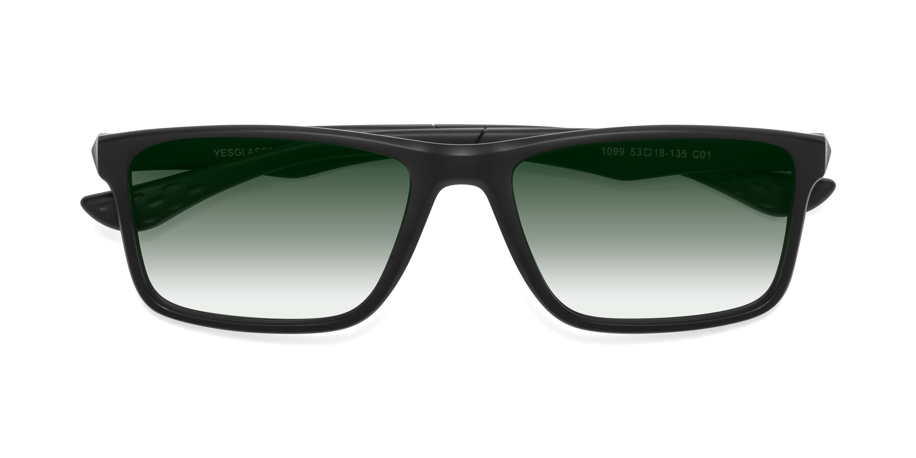 Folded Front of Engineer in Matte Black with Green Gradient Lenses