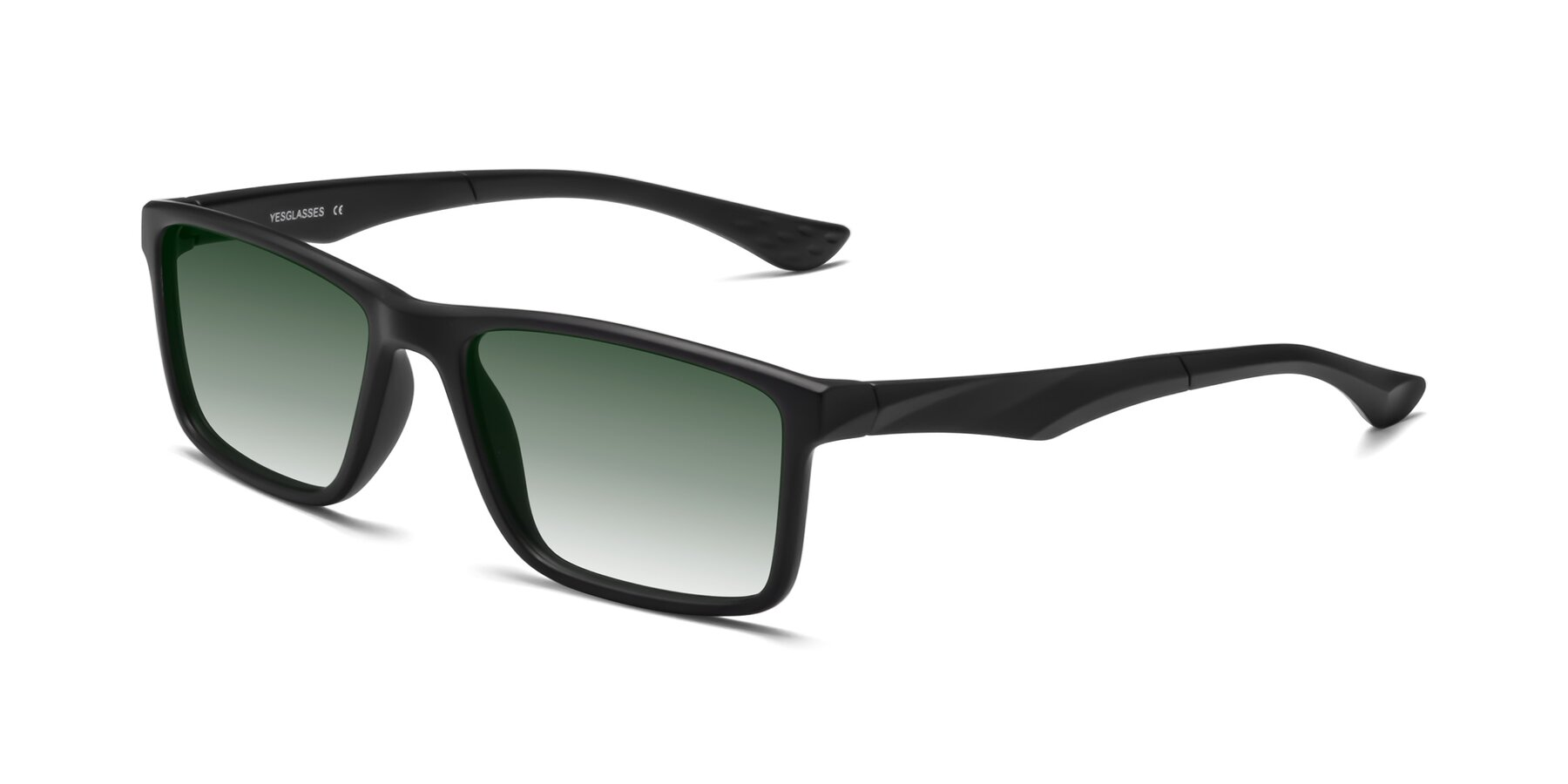 Angle of Engineer in Matte Black with Green Gradient Lenses