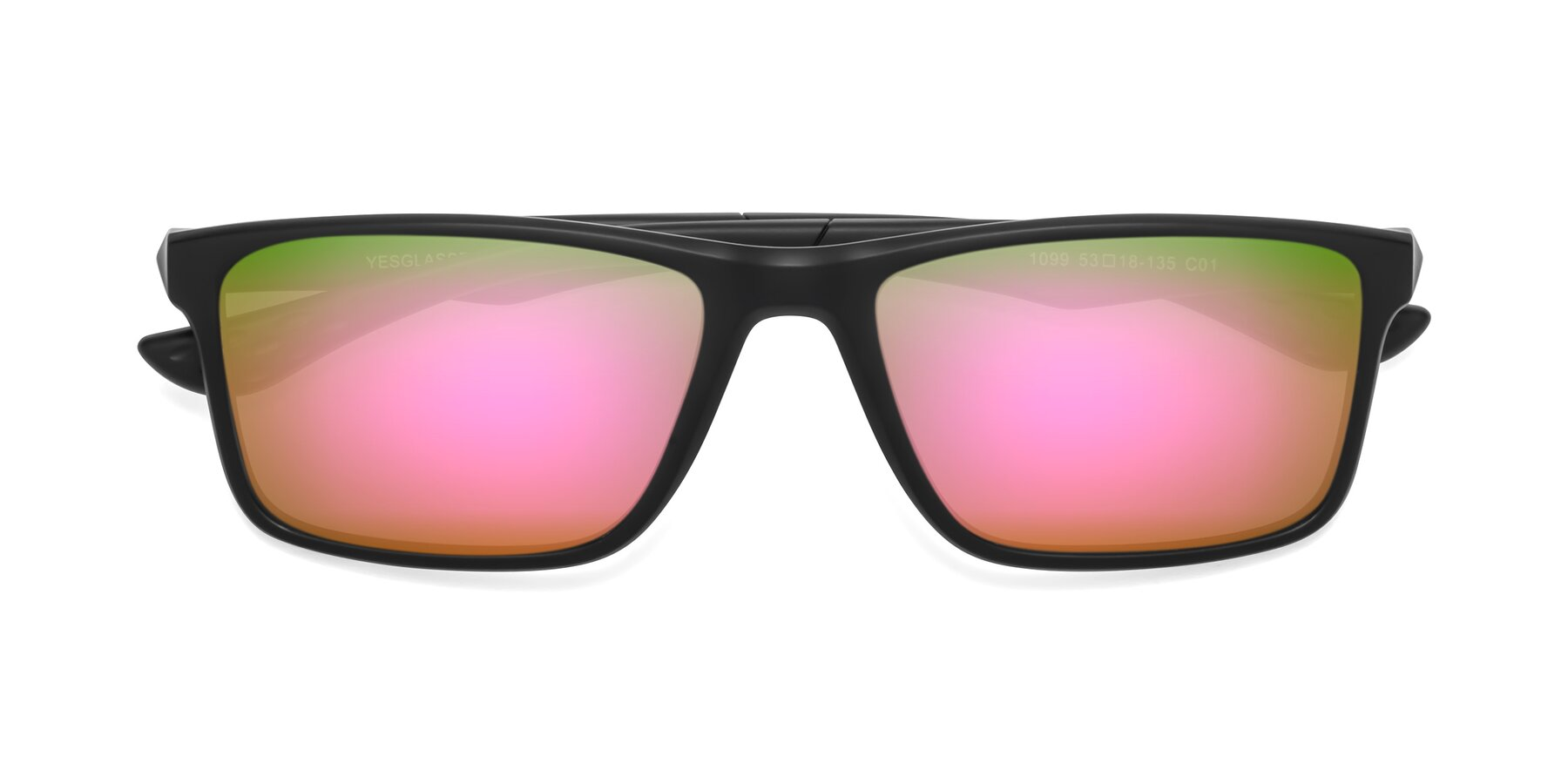 Folded Front of Engineer in Matte Black with Pink Mirrored Lenses