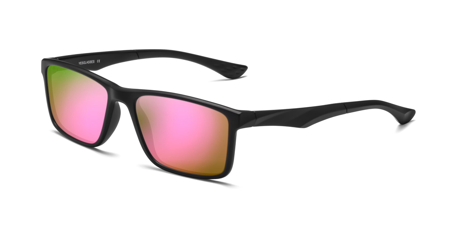 Angle of Engineer in Matte Black with Pink Mirrored Lenses