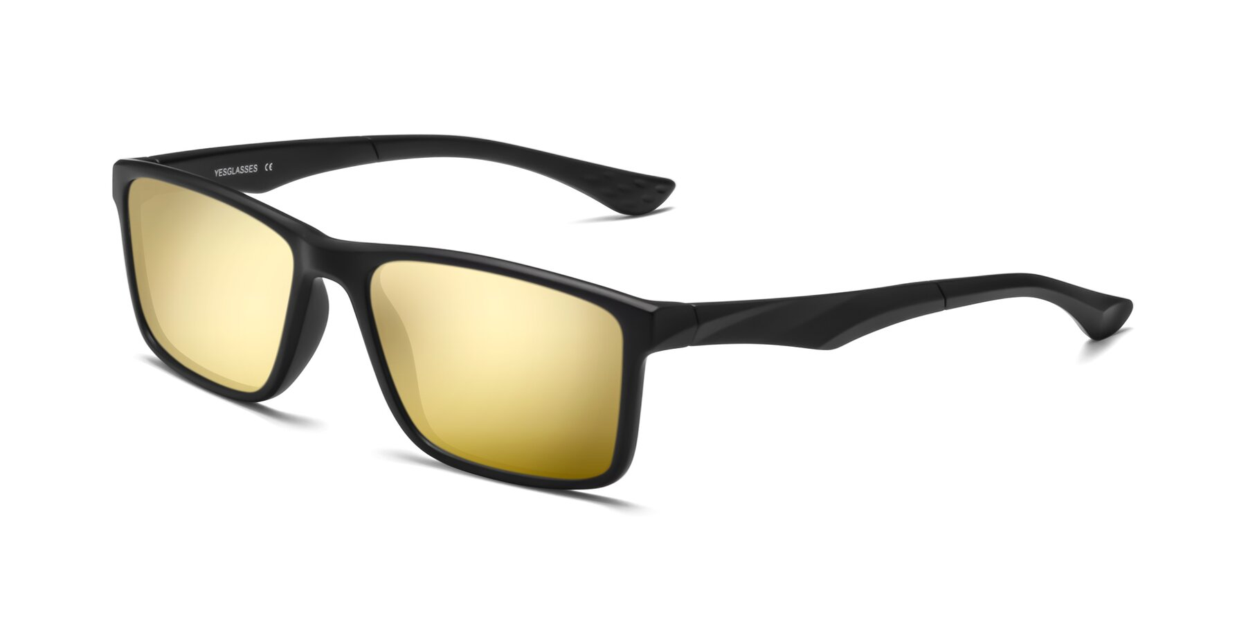 Angle of Engineer in Matte Black with Gold Mirrored Lenses