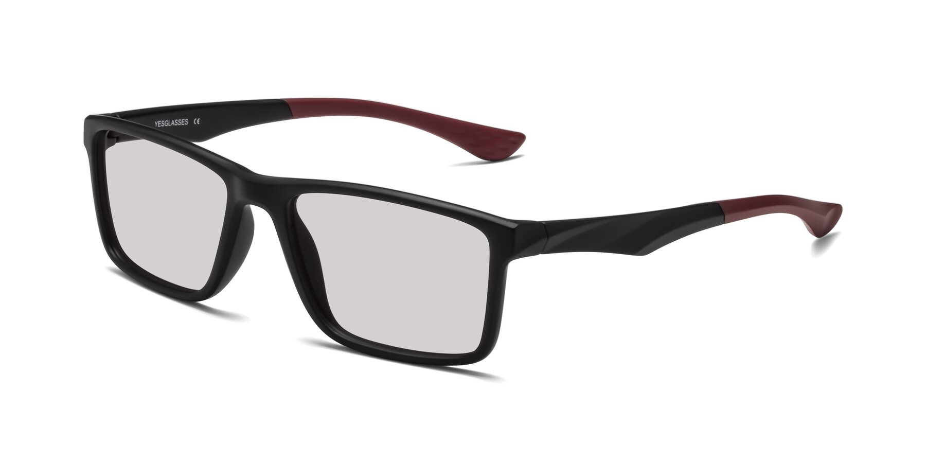 Angle of Engineer in Matte Black-Wine with Light Gray Tinted Lenses