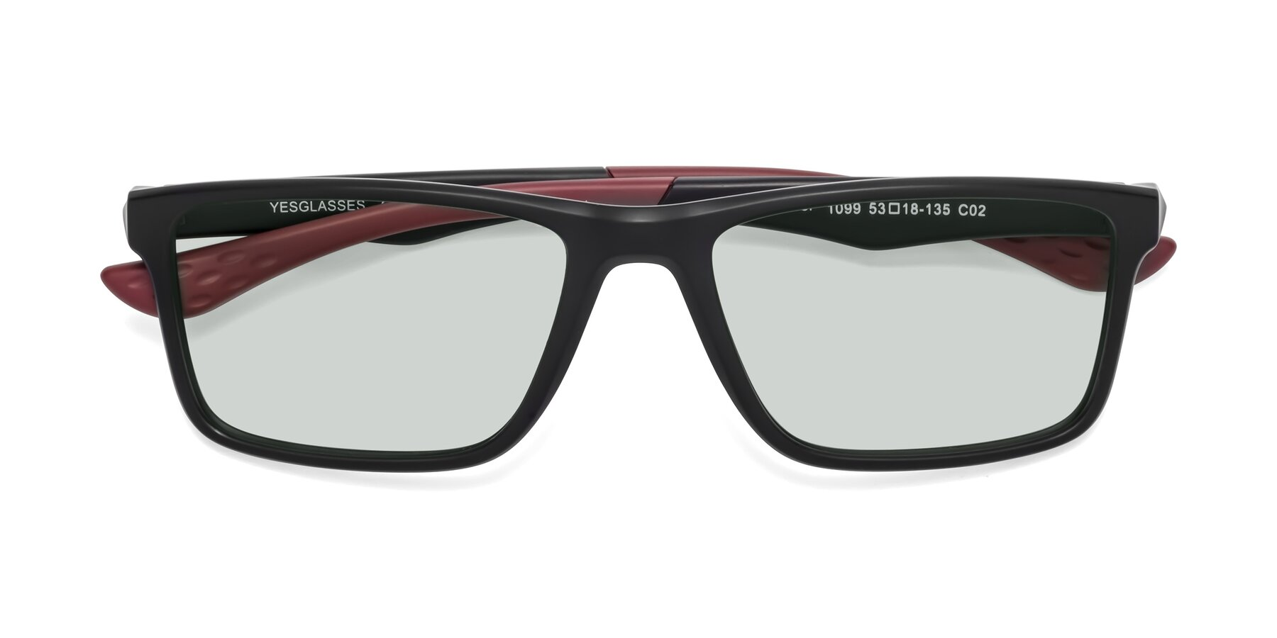 Folded Front of Engineer in Matte Black-Wine with Light Green Tinted Lenses