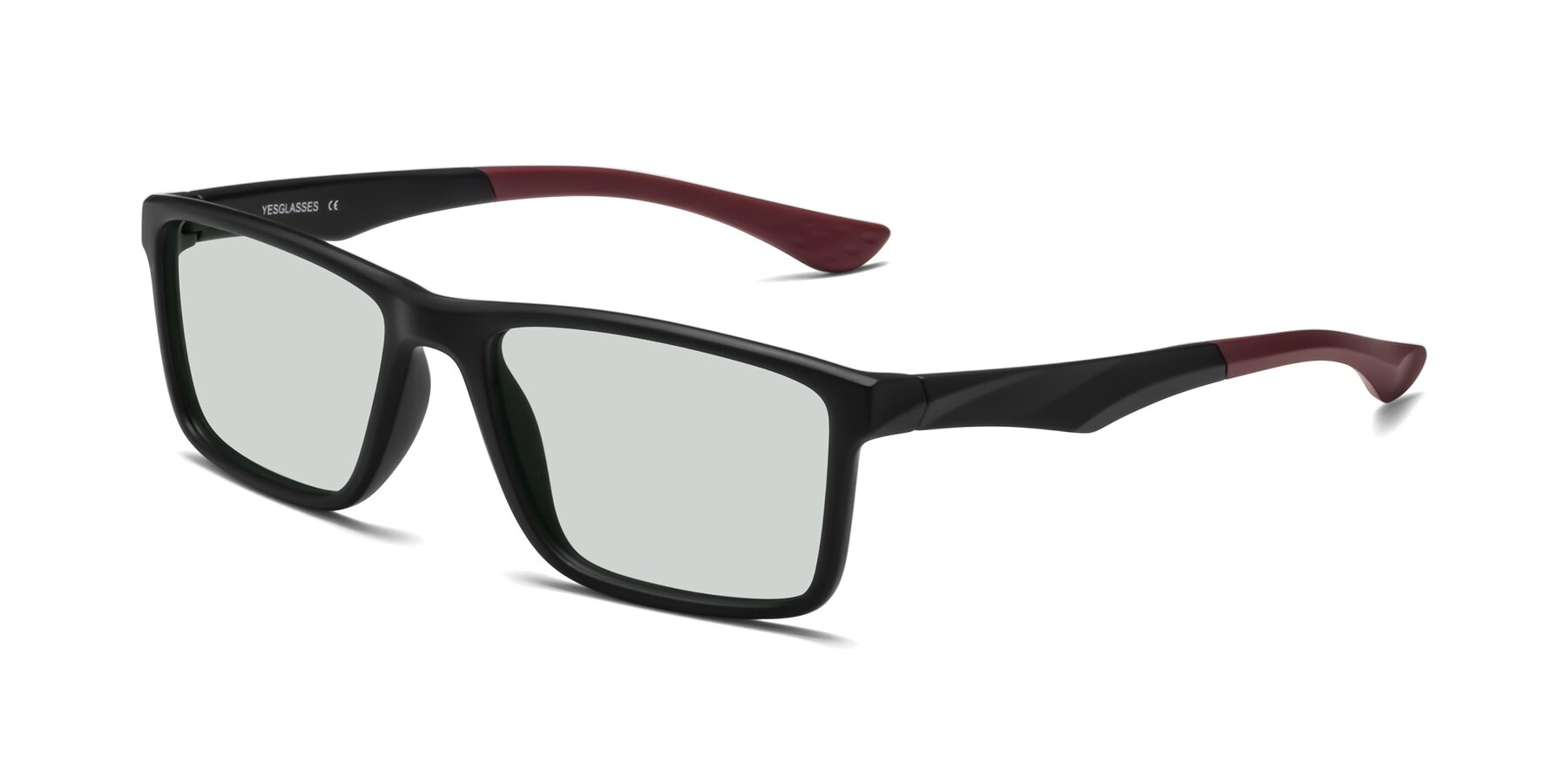 Angle of Engineer in Matte Black-Wine with Light Green Tinted Lenses