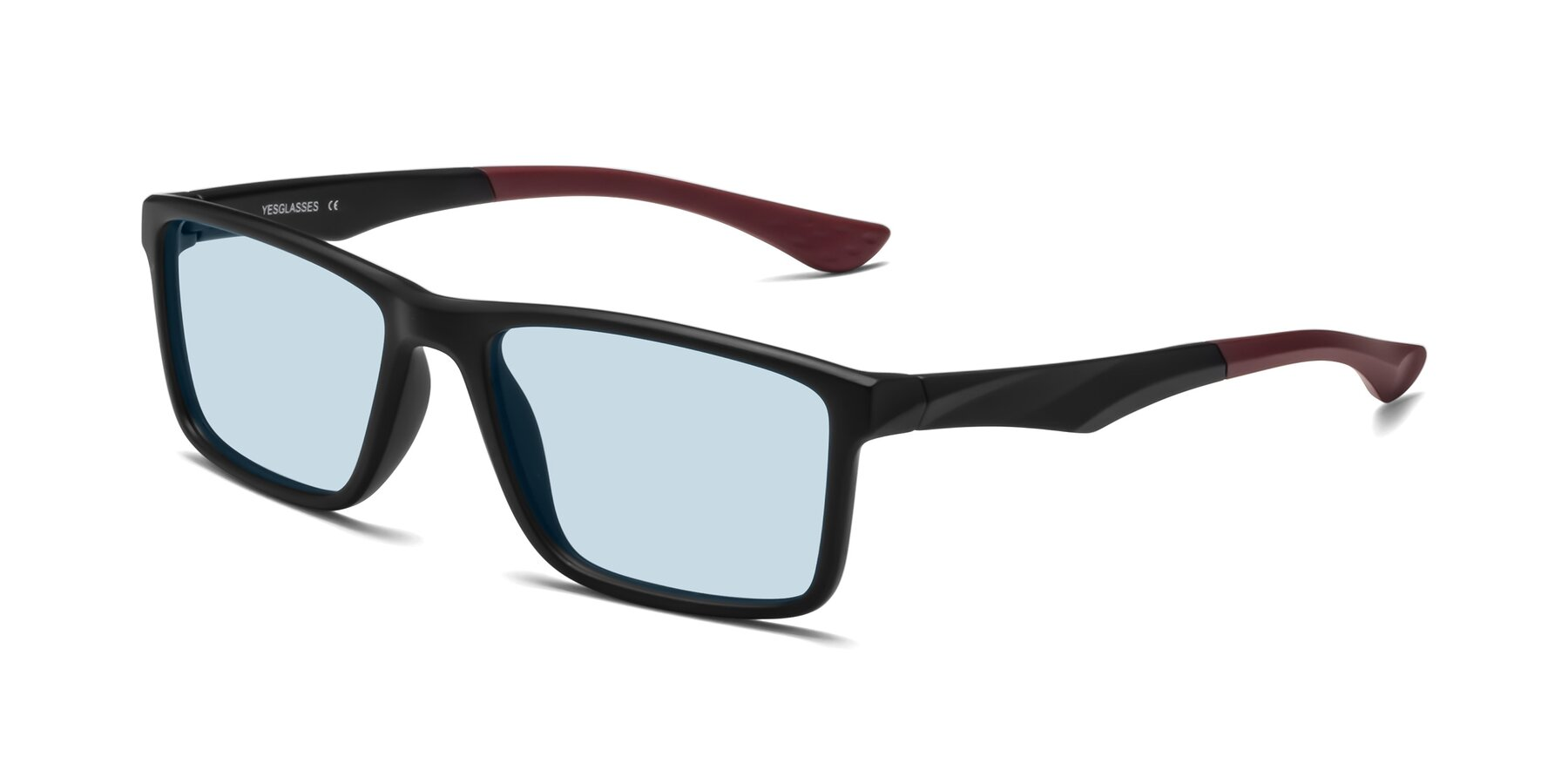 Angle of Engineer in Matte Black-Wine with Light Blue Tinted Lenses