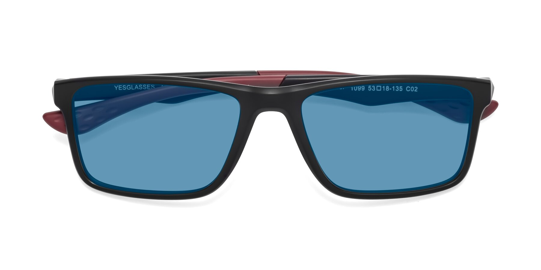 Folded Front of Engineer in Matte Black-Wine with Medium Blue Tinted Lenses
