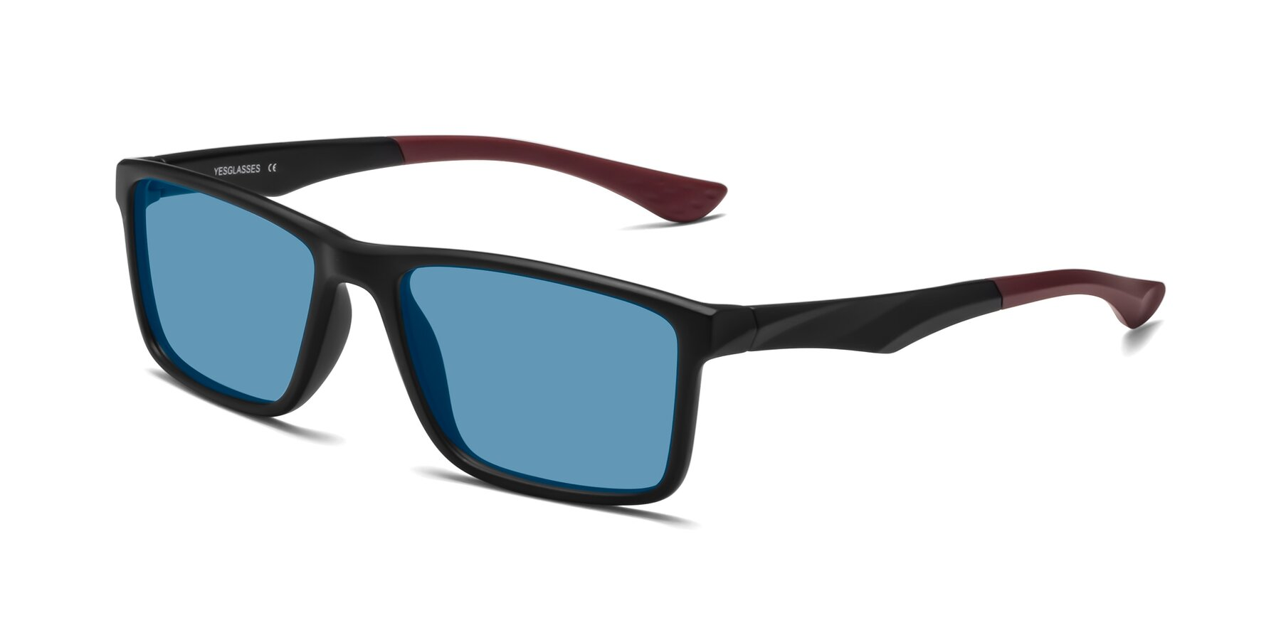 Angle of Engineer in Matte Black-Wine with Medium Blue Tinted Lenses