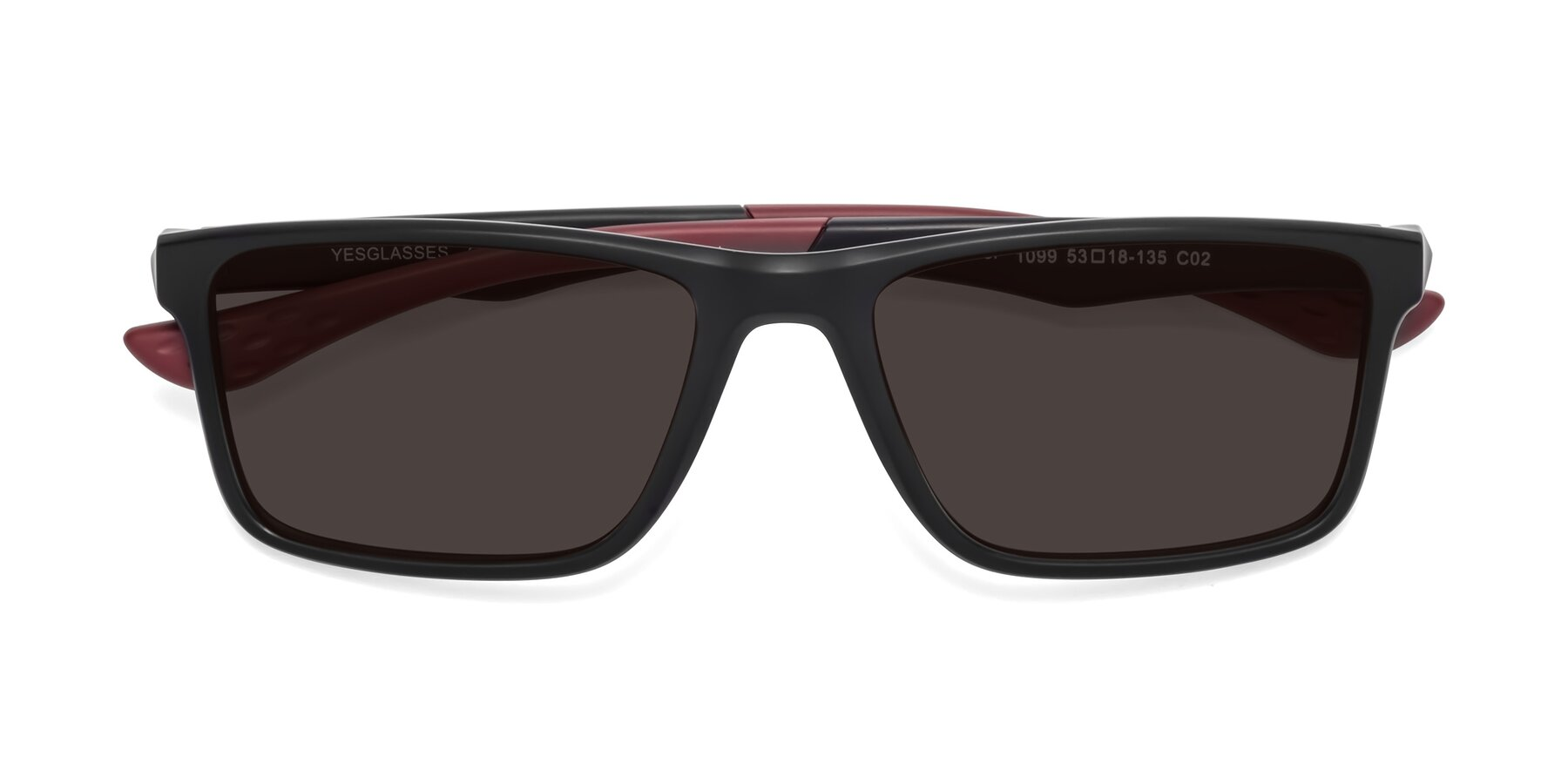 Folded Front of Engineer in Matte Black-Wine with Gray Tinted Lenses