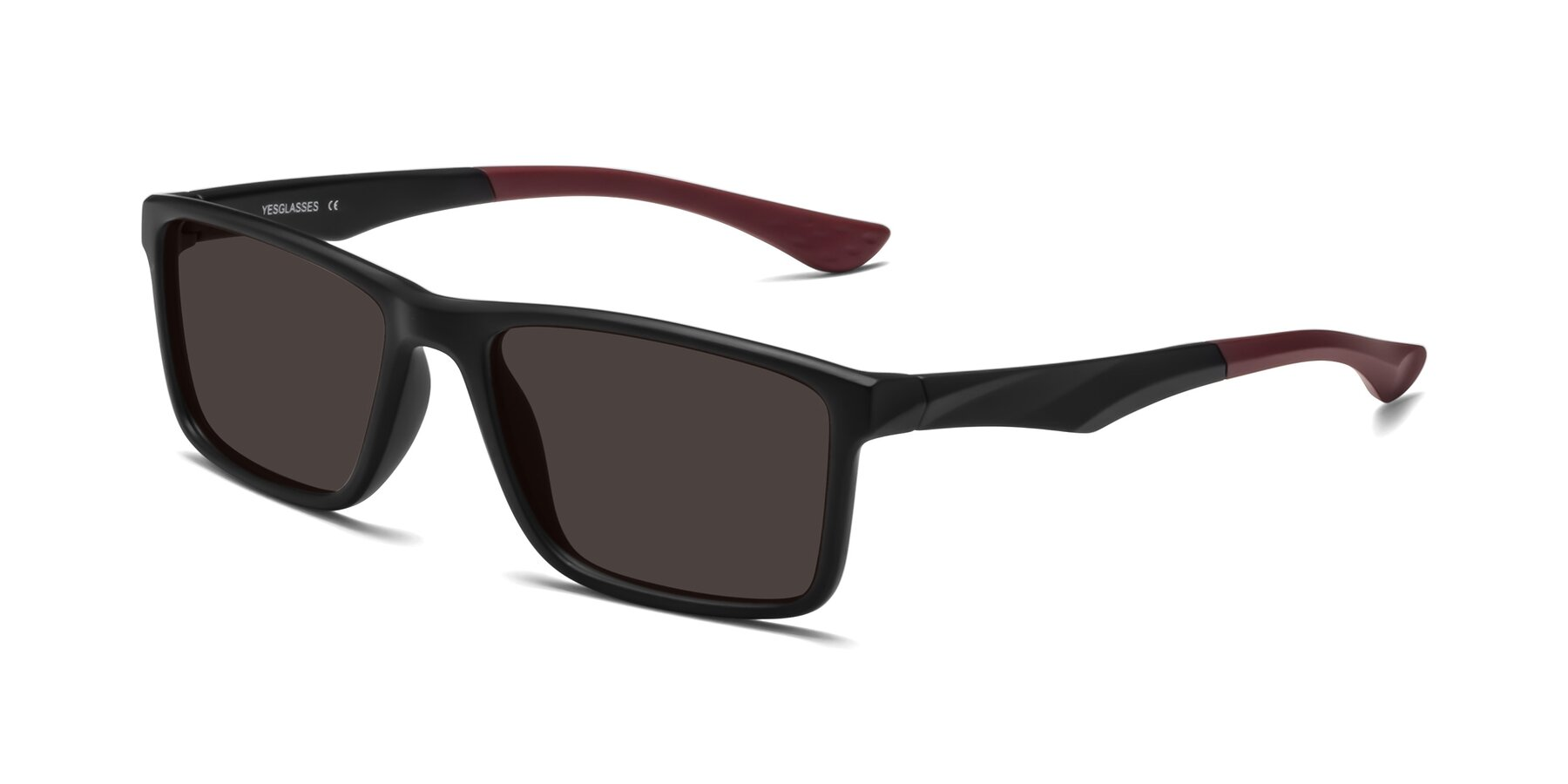 Angle of Engineer in Matte Black-Wine with Gray Tinted Lenses