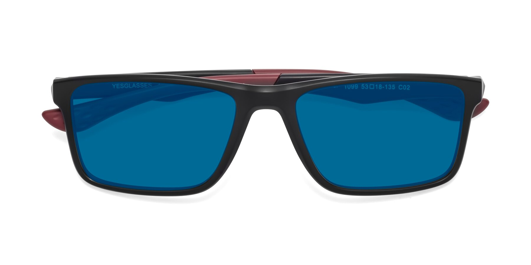 Folded Front of Engineer in Matte Black-Wine with Blue Tinted Lenses