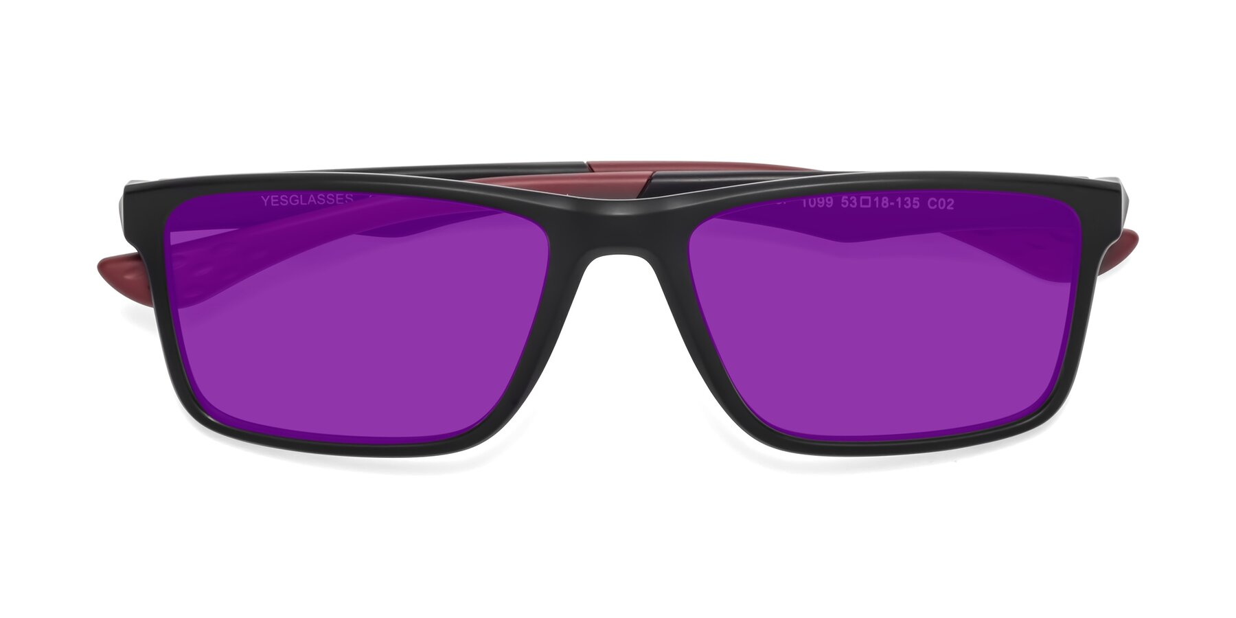 Folded Front of Engineer in Matte Black-Wine with Purple Tinted Lenses