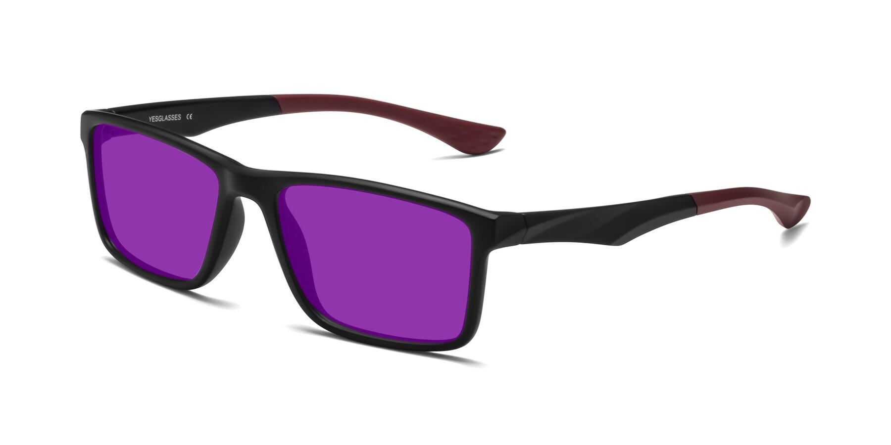 Angle of Engineer in Matte Black-Wine with Purple Tinted Lenses