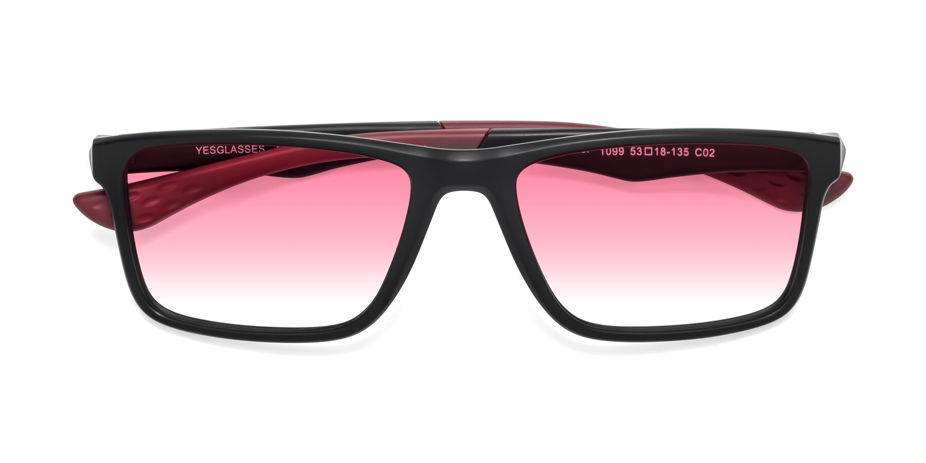 Folded Front of Engineer in Matte Black-Wine with Pink Gradient Lenses