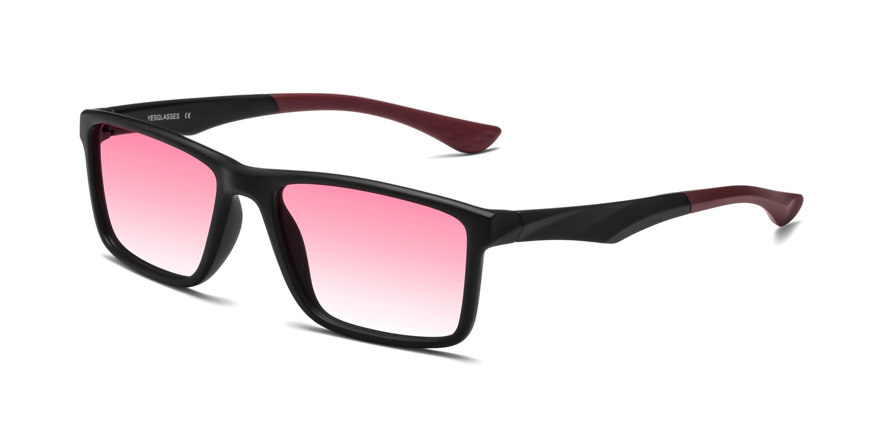 Angle of Engineer in Matte Black-Wine with Pink Gradient Lenses