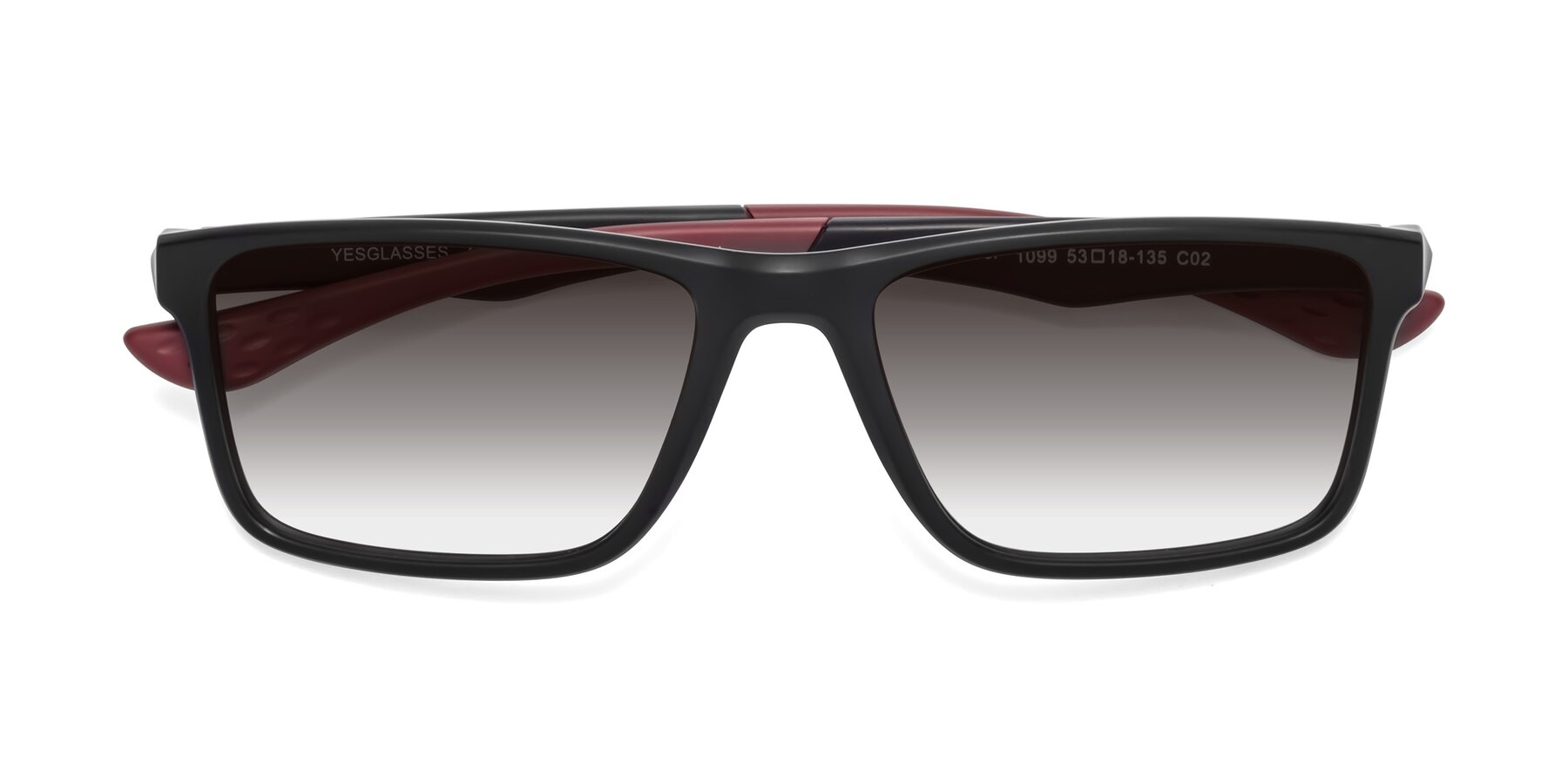 Folded Front of Engineer in Matte Black-Wine with Gray Gradient Lenses