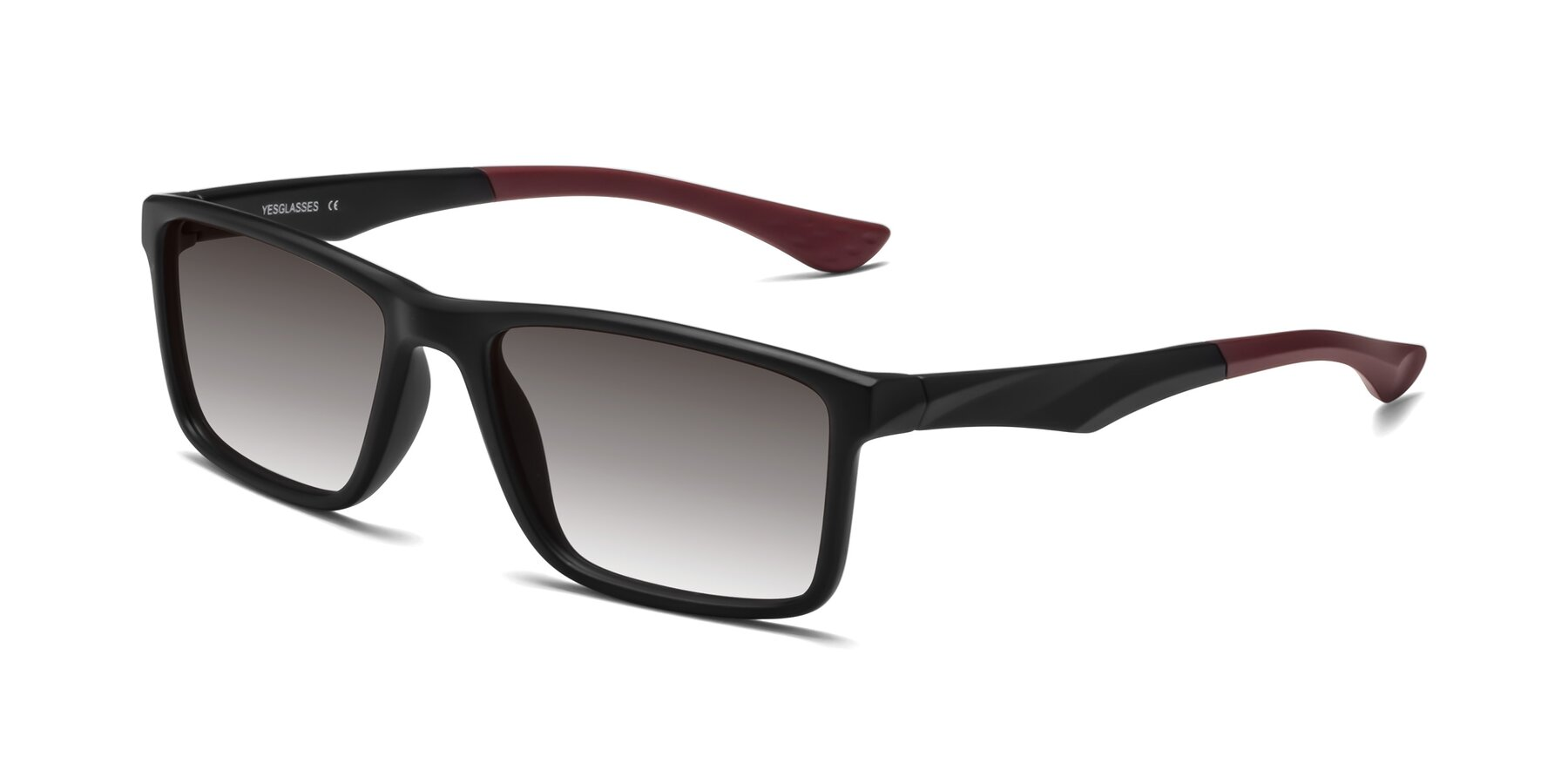 Angle of Engineer in Matte Black-Wine with Gray Gradient Lenses