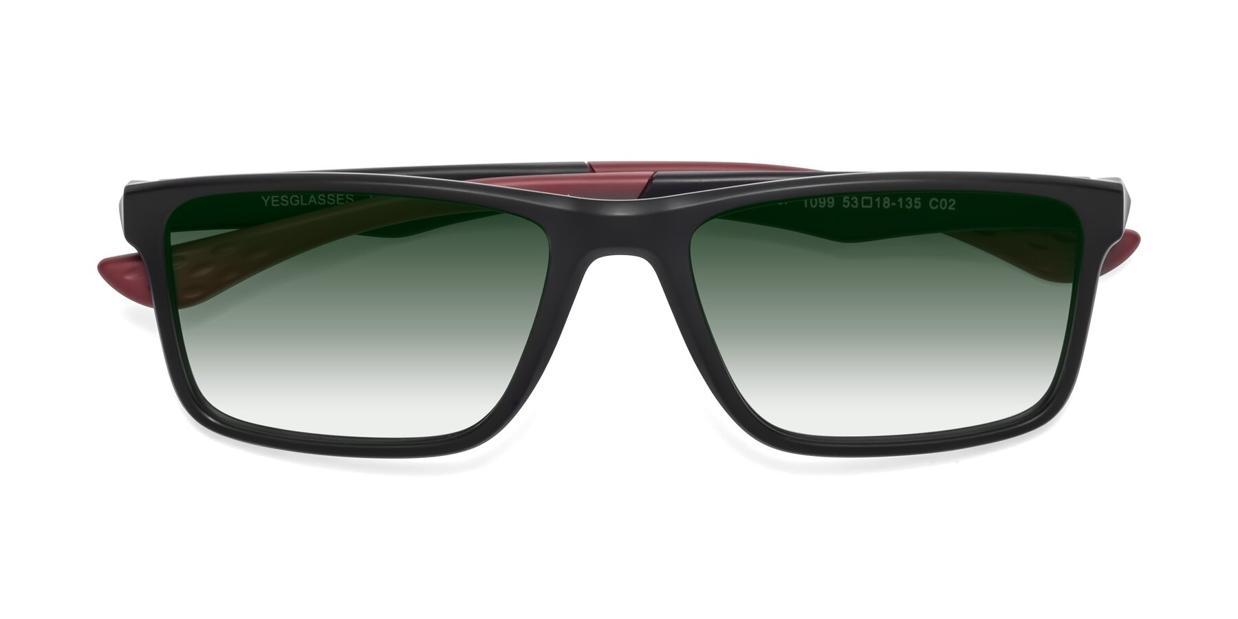 Folded Front of Engineer in Matte Black-Wine with Green Gradient Lenses