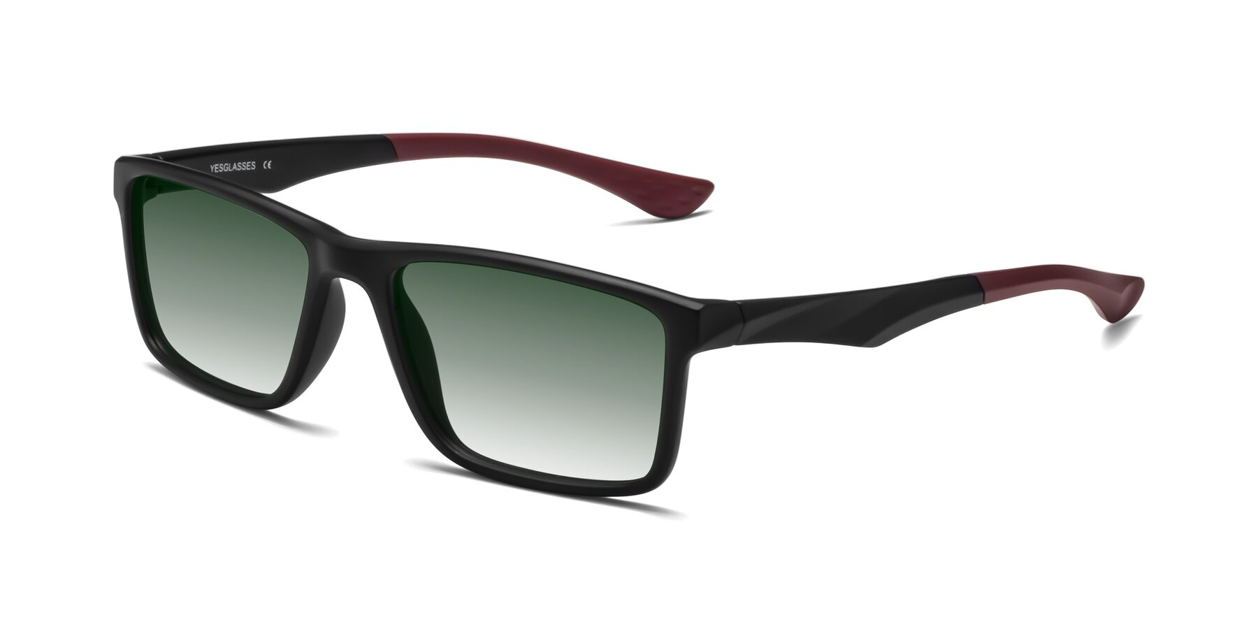 Angle of Engineer in Matte Black-Wine with Green Gradient Lenses
