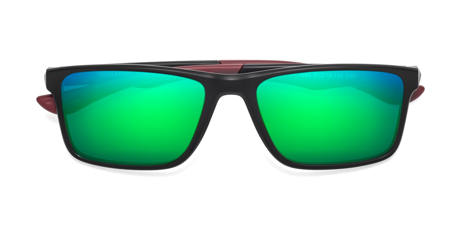 Folded Front of Engineer in Matte Black-Wine with Green Mirrored Lenses