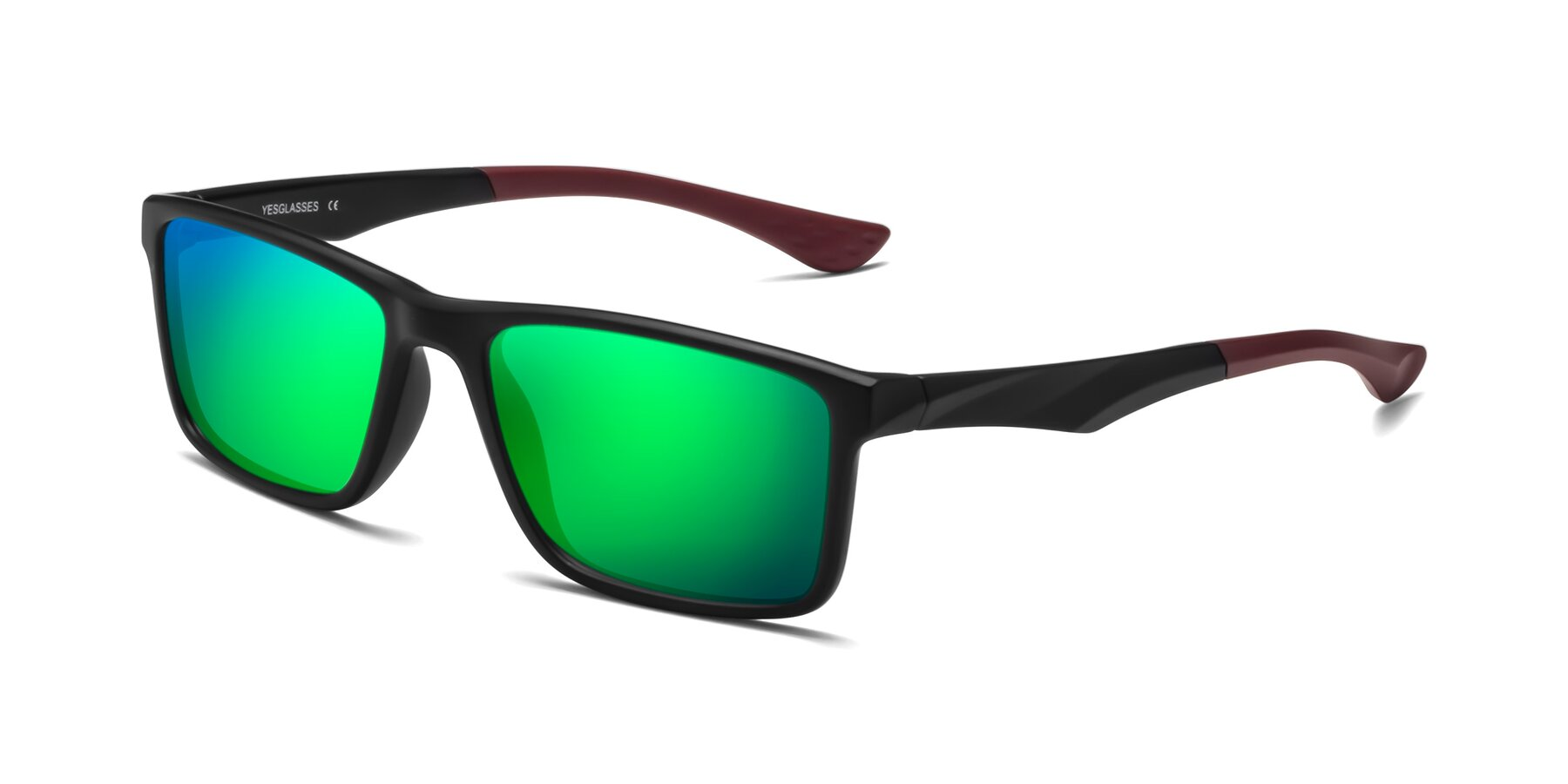 Angle of Engineer in Matte Black-Wine with Green Mirrored Lenses